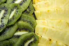 Kiwi and pineaple. Composition of  half kiwi and pineaple Stock Image