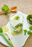 Kiwi and Pineapple with yogurt Stock Photography
