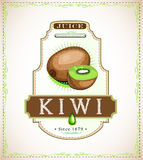 Kiwi product label. Kiwi juice or food product label, hand-drawn Royalty Free Stock Images