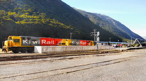 Kiwi-Rail Train, Arthurs Pass Station, New Zealand Royalty Free Stock Photography