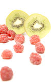 Kiwi and raspberry Royalty Free Stock Photography