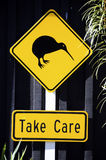 Kiwi Road Sign. Please take care. New Zealand stock image