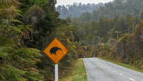 Kiwi road sign on the south island of new zealand. Shot of a kiwi road sign on the south island of new zealand royalty free stock photography