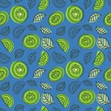 Kiwi seamless pattern. Hand drawn fresh tropical fruit. Multicolored vector sketch background. Colorful doodle wallpaper. Green. And blue print stock illustration