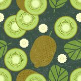 Kiwi seamless pattern. Whole and sliced kiwi fruits with leaves and flowers on shabby background. Original simple flat illustratio royalty free illustration