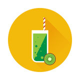 Kiwi shake or juice vector icon. Menu element for cafe or restaurant with energetic fresh drink. Trendy flat design style. For web and print design Stock Photos