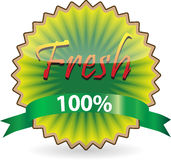 Kiwi shape Fresh label. Label of Fresh concept like kiwi with green ribbon royalty free illustration