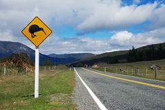 Kiwi sign. By the road in Nelson lakes national park, New Zealand stock photos