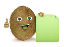 Kiwi with a sign Royalty Free Stock Photo