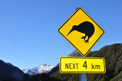 Kiwi sign. Road sign warning of kiwis near Arthur's Pass, South Island, New Zealand Stock Photo