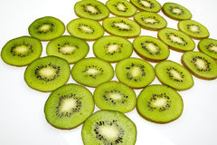 Kiwi slices close up. Kiwi slices on white background Royalty Free Stock Image