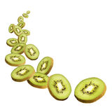 Kiwi slices flying Stock Images