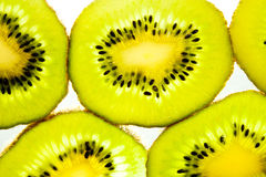 Kiwi slices. Fresh kiwi fruit slices isolated on white background royalty free stock photo