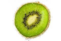 Kiwi,Slices of kiwi fruit and bubble on white background Royalty Free Stock Image