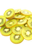 Kiwi slices with white background. Sour fruit but good for diet Stock Photos