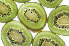 Kiwi slices on white background. Sliced pieces of kiwi on white background Stock Photos