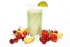 Kiwi smoothie. Fruit smoothie with  cherry, strawberry and  peach isolated on white background Stock Photos