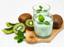 Kiwi smoothie in glass Stock Photo