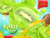Kiwi sok słodkie owoce 3d wektor ilustracja wektor