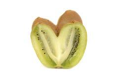 Kiwi sous forme de coeur sur le blanc Photos libres de droits