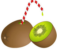 Kiwi with Straw Royalty Free Stock Photography