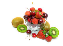 Kiwi, strawberry and cherry on a white background. horizontal ph Royalty Free Stock Photography