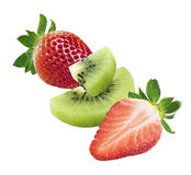 Kiwi strawberry diagonal composition isolated on white background. As package design element stock image
