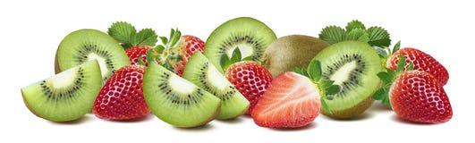 Kiwi strawberry long composition isolated on white background Royalty Free Stock Image