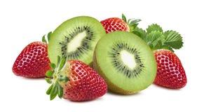 Kiwi strawberry rich composition horizontal isolated on white ba stock image