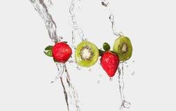 Kiwi Strawberry Splash Immagine Stock Libera da Diritti