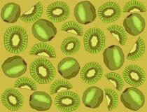 Kiwi su un fondo verde Reticolo Fotografia Stock