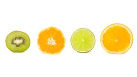 Kiwi, tangerine, lime and orange. Isolated on Royalty Free Stock Photo