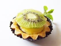 Kiwi Tart. Single Kiwi tart isolated on white background Stock Photo