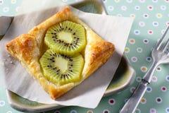 Kiwi Tart on flaky pastry crust Royalty Free Stock Photos