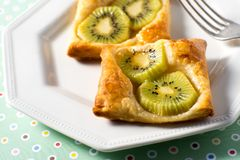 Kiwi Tart on flaky pastry crust Royalty Free Stock Photo