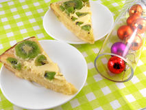 Kiwi tasty cake with christmas and new year balls Stock Images