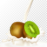 Kiwi und Milch Stockfotografie