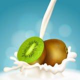 Kiwi und Milch Stockfotos