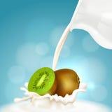 Kiwi und Milchkrug Stockbild