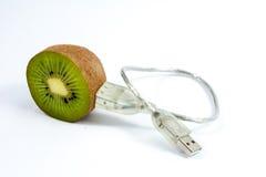 Kiwi and USB cable. USB cable plugged into Kiwifruit half on white Royalty Free Stock Image