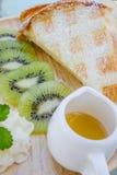 Kiwi waffle with honey Stock Photography