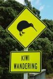Kiwi wandering. Road sign New Zealand: kiwi wandering stock photos