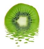 Kiwi on Water. Fresh kiwi on water. Isolated stock image