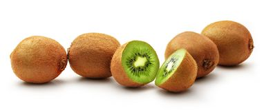 Kiwi whole and cut Royalty Free Stock Images