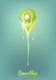 Kiwi Yogurt ed il frullato verdi mungono con frutta, il concetto del succo, illustrazione di vettore Fotografia Stock