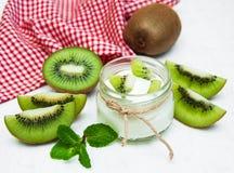 Kiwi yogurt Stock Photography