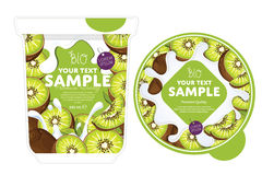 Kiwi Yogurt Packaging Design Template Immagine Stock