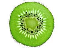 Kiwifruchtscheibe backlit Stockbilder