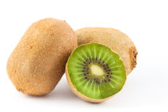 Kiwifruit Actinidia chinensis. On white background Stock Photos