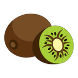 The kiwifruit cartoon. Outlined character with black stroke Stock Photos